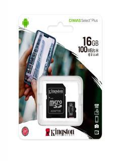 Memoria+micro-SDHC+Kingston+Canvas+Select%2C+16GB%2C+UHS-I+Speed+Class10+%28U1%29+con+Adaptador+SD